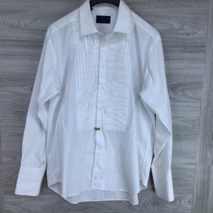 David Donahue Pleated Formal Dress Shirt